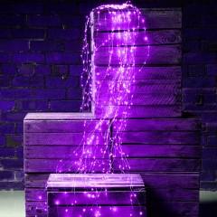 Свисающие led нити 200 led, 10 линий по 2м, фиолетовый , с блоком питания