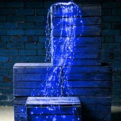 Свисающие led нити 200 led, 10 линий по 2м, синий, с блоком питания