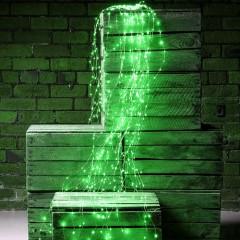 Свисающие led нити 200 led, 10 линий по 2м, зеленый, с блоком питания