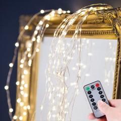 """Свисающие led нити """"Водопад"""", с пультом ДУ, на батарейках, 60 led, 10 линий по 60 см, 8 реж., теплый белый"""