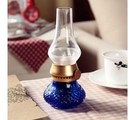 Светодиодная керосиновая лампа с аккумулятором, синяя