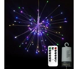 """Подвесной LED декор """"Мерцающие лучи"""" 200led, 40 линий, с пультом ДУ, на батарейках, цветная"""