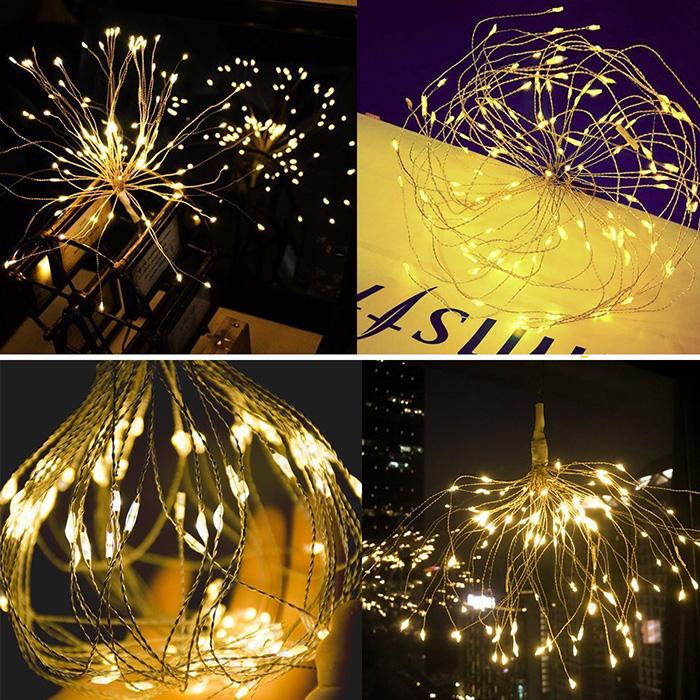 """Подвесной LED декор """"Мерцающие лучи"""" 200led, 40 линий, с пультом ДУ, на батарейках, теплый белый"""