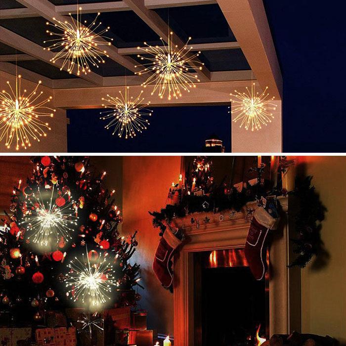 """Подвесной LED декор """"Мерцающие лучи"""" 180 л, 60 линий, на батарейках, теплый-белый"""