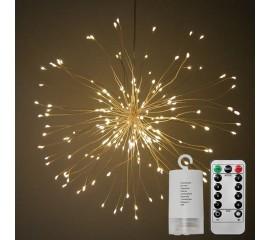 """Подвесной LED декор """"Мерцающие лучи"""" 120 л, 60 линий, на батарейках, теплый-белый"""