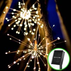 """Подвесной LED декор """"Мерцающие лучи"""" на солнечных батареях 200led, 40 линий, теплый-белый"""