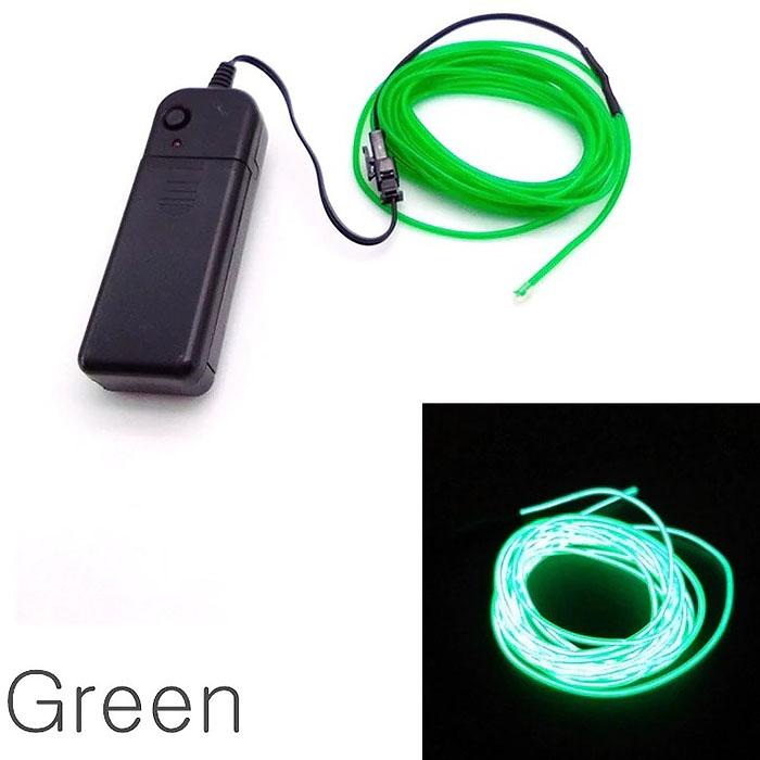 "Подсветка ""Неон"" на батарейках 3 режима, 1 м - зеленая"