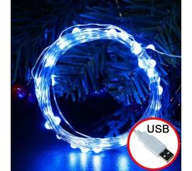 LED нить, 20 м 200 ламп, синий, USB