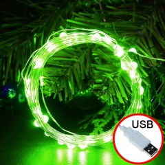 LED нить - 10 м 100 ламп, зеленый, USB
