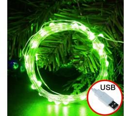 LED нить - 5 м 50 ламп, зеленый, USB