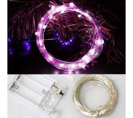 Светодиодная нить 30 л. 3 м. - фиолетовый, на батарейках АА