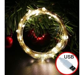 LED нить - 1 м 10 ламп, теплый белый, USB