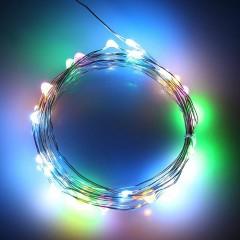 Светодиодная нить 30л. 3м. цветная + 2 батарейки