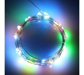 Светодиодная нить 10 л. 1м. цветная + 2 батарейки