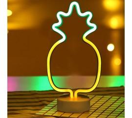 """Светодиодный ночник """"Неоновый ананас"""", usb / батарейки"""