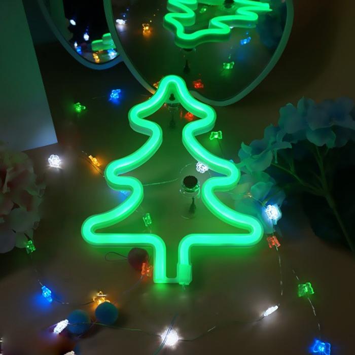 "Настенный LED декор ""Неоновая елочка"", батарейки / USB"