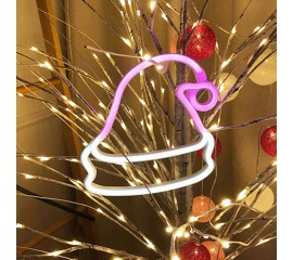 "Настенный LED декор ""Неоновая шапка Санты"", батарейки / USB"