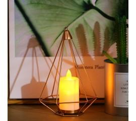 Скандинавский подсвечник  со светодиодной свечей 18 см