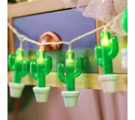 """LED гирлянда """"Кактус в горшке"""" 35 ламп 3 м, usb"""