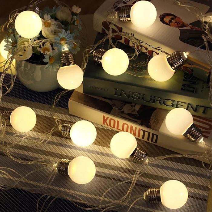 "Led гирлянда ""Лампочки матовые (4,5 см)"" 20 ламп, 3 м, usb + 8 режимов"