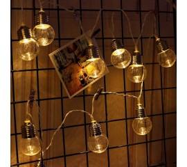 """Led гирлянда """"Лампочки прозрачные (5 см)"""" 10 ламп, 1,5 м"""