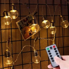 "Led гирлянда ""Лампочки прозрачные"" 35 ламп, 5 м, пульт ДУ, батарейки / micro USB"