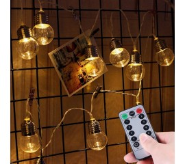 "Led гирлянда ""Лампочки прозрачные (5 см)"" 20 ламп, 3 м, пульт ДУ, батарейки / micro USB"
