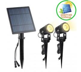 2 cплит-прожектора на солнечной батарее 6W, теплый белый