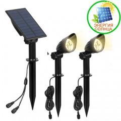 2 сплит-прожектора на солнечной батарее 6LED, теплый белый