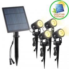 4 cплит-прожектора на солнечной батарее 6W, теплый белый
