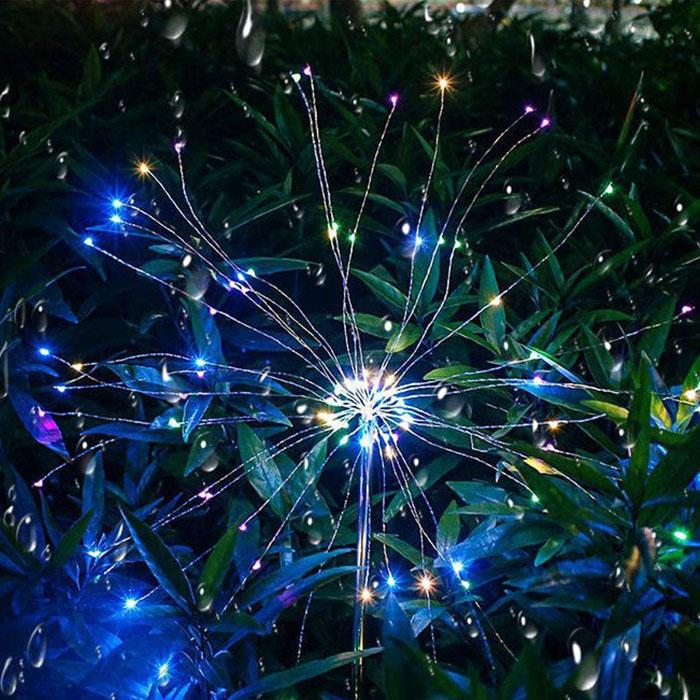 """Газонный светильник """"Фейерверк"""" на солнечной батарее, с пультом ДУ, 8 режимов, 200 led, цветной"""
