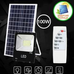 Светодиодный прожектор 100W, на солнечных батареях, с пультом ДУ