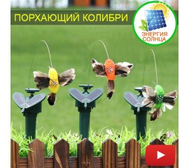 Порхающий колибри на солнечной энергии или батарейке