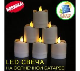 Светодиодная свеча 7,5 см, на солнечной батарее