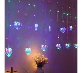 """Гирлянда-штора """"12 сердечек"""" цветная"""