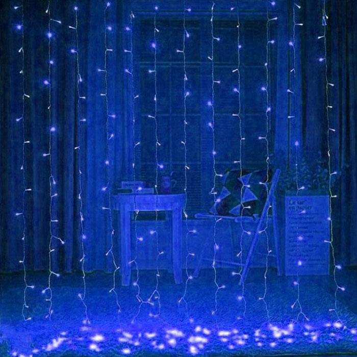 Гирлянда-штора 3х3 м,  синий
