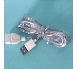 Прозрачный удлинитель USB, для светодиодных гирлянд - 3 м
