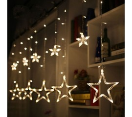 """Гирлянда - штора """"Звезды"""" - 2,5м х 0,8м, 12 звезд, теплый белый"""