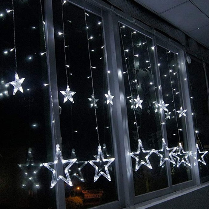 "Гирлянда - штора ""Звезды"" - 2,5 м х 0,8 м, 12 звезд, холодный белый"