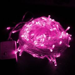 Гирлянда стринг 100 led, 10 м., 8 режимов, розовая