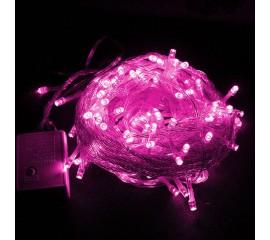 """Светодиодная гирлянда """"Стринг"""" 100 led, 10 м, 8 режимов, розовая"""