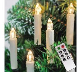 Набор LED свечей на елку, 10 шт, белые, пульт ДУ