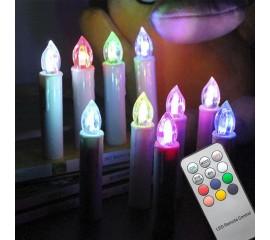 Набор LED свечей на елку, 7 цветов ( RGB), 10 шт, пульт ДУ
