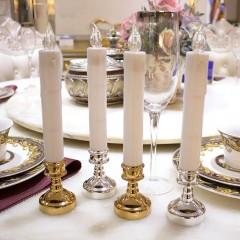 Светодиодная свеча - 25 см, с серебряной базой