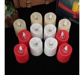 Светодиодная свеча, реалистический эффект огонька, красная 7,5 см