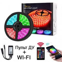 Светодиодная лента RGB, контроллер WI-FI, пульт ДУ, 5 метров, 12V, 300LED