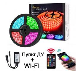 Светодиодная лента RGB, контроллер WI-FI, пульт ДУ, 5 метров, 12V, 150LED