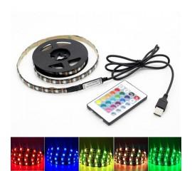 Светодиодная подсветка RGB для ТВ, полок, ниш. 3м, 180led, пульт ДУ, USB