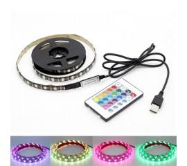 Светодиодная подсветка RGB для ТВ, полок, ниш. 1м, 60led, пульт ДУ, USB