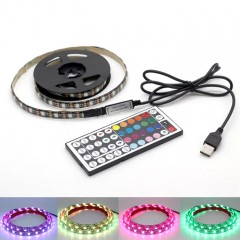 Светодиодная подсветка RGB для ТВ, полок, ниш. 2м, 120led, пульт ДУ-44 кнопки, USB